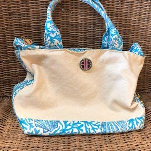 Lilly Pulitzer Canvas Blue/White Shell Handbag
